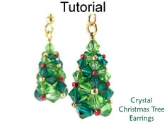 Crystal Christmas Tree Holiday Earrings Swarovski CRAW Cubic Right Angle Weave Beading Pattern Tutorial by Simple Bead Patterns | Simple Bead Patterns