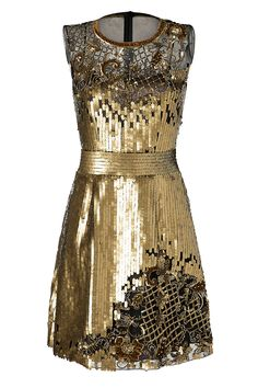 A gilded vision, this opulent sequin dress from Alberta Ferretti adds instant drama to your cocktail-ready look.