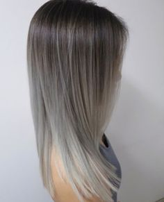 Amazing Silver and grey ombre balayage hair