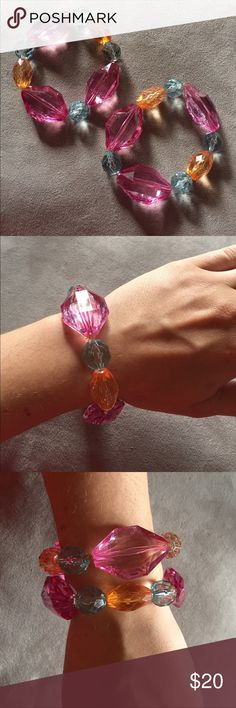 Set of two chunky fashion bracelets Multi-colored chunky stretch bracelets. Gifted. NWOT. Jewelry Bracelets