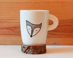 Fox Coffee Mug Black Fox head illustrated mug by LesMiniboux