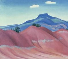 Georgia O'Keeffe, Red Hills with Pedernal, White Clouds, 1936, oil on canvas