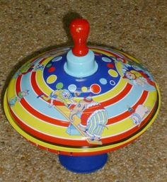 SCHYLLING Spinning Top Circus Clowns Elephant Pig Duck dog Blue Red Yellow Huge #Schylling