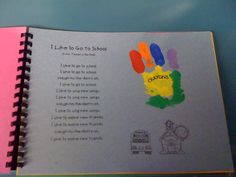 Handprint Art Book 1 - a handprint for each holiday throughout the school year Preschool Classroom, Preschool Activities, Classroom Ideas, Preschool Journals, Teach Preschool, Preschool Curriculum, Future Classroom, Beginning Of The School Year, First Day Of School