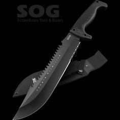 SOG Survival Machete with Sheath - Jungle Primitive Tactical Machete for Clearing Brush, Camping Machete with Machete Knife Sheath Knives And Tools, Knives And Swords, Tactical Knives, Tactical Gear, Clearing Brush, Zombie Weapons, Home Defense, Knife Sheath, Cool Tools