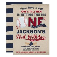 Baseball Birthday Invitation Baseball 1st Birthday Baseball Birthday Invitations, Baseball First Birthday, Baby Boy 1st Birthday, Sports Birthday, Boy Birthday Parties, Birthday Ideas, Invitation Birthday, Birthday Gifts, Baby Birthday