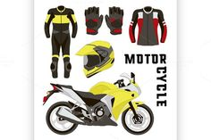 Vector set of motorcycle accessories. Sport Icons. $5.00