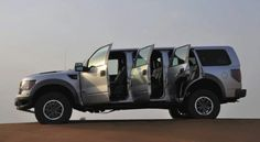 More money than sense. A prime example of this is a custom-built Ford F-150 SVT Raptor that believes the proper number of doors is six. http://f150-forums.com/ford-f150-general-discussion-2/ford-svt-raptor-six-doors-only-uae-650/