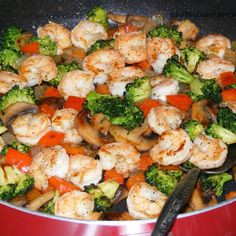 Frozen (or fresh) shrimp and fresh veggies are sauteed in butter and seasonings then served with rice of choice.. white, brown, or my favorite, fried.