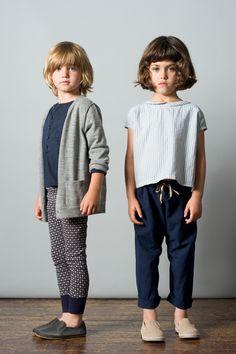 Boy: Corsica Cardigan, Husky / Cyprus Shirt, Navy / Maui Leggings, Navy Off White Button Print. Girl: Floreana Blouse, 3 Stripe / Andros Trouser, Navy. Caramel Baby & Child. www.caramel-shop.co.uk.