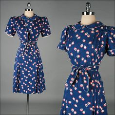 1940s Red Blue Floral