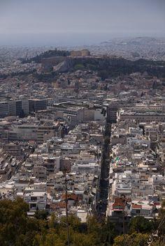 View from Mount Lycabettus, Kolonaki, Athens, Attica_ Greece Attica Greece, Athens Greece, Cityscapes, Paris Skyline, Countries, City Photo, World, Travel, Places