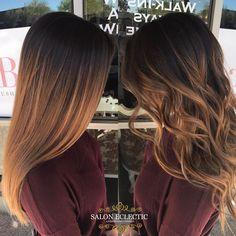 """4 Me gusta, 1 comentarios - Treasure Lapadura (@treasurexohair) en Instagram: """"Straight vs curly #balayage #caramel #ombre #balaygeombre #hair #haircolor #redken #shadeseq #az…"""""""