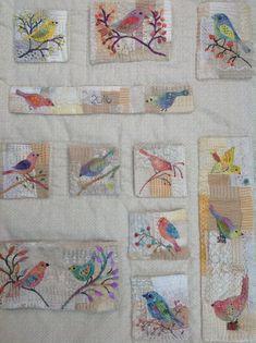 Embroidered birds on my organiser Debbie Irving