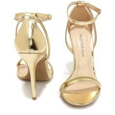 Glam Squad Gold Ankle Strap Heels ($22) ❤ liked on Polyvore featuring shoes, sandals, heels, high heels, ankle strap stilettos, ankle strap high heel sandals, stilettos shoes, stiletto sandals and criss-cross sandals