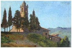 Leone Tommasi (Pietrasanta 1903 - Pietrasanta 1965); Senza titolo, 1947. olio su tavola, 29,8 x 44,3 cm.  firma e data in alto a dx.