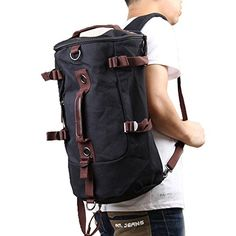 PsmGoods Portable Canvas Backpack Rucksack Travel Outdoor…
