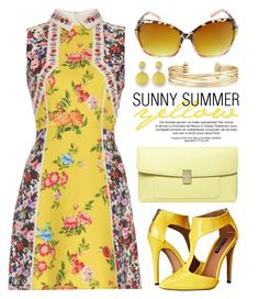 """""""Sunny Summer Yellow 1684"""" by boxthoughts ❤ liked on Polyvore featuring Mary Katrantzou, Michael Antonio, Dorothy Perkins, Stella & Dot and XOXO"""