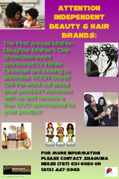 Independent Beauty and Hair Brands get a free commercial made for your brand when you buy an advertisement spot in our ad book for our event. Your commercial will also be feat. on our take home showcase event DvD. For more information contact Infinite Cinemas    (727) 631-6020 or email truessenceeventsnplanning@live.com
