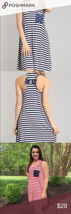 SALE❗️Navy blue American flag dress! If you're looking for something to wear for the 4th of July or Labor Day weekend this is perfect! Very comfortable and flowy!  Model Wearing a small 5'2 Made of 95% Rayon and 5% spandex Dresses Midi