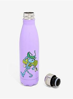 Keep hydrated with Flick! This purple steel water bottle features the hero of the animated classic!   Stainless steel  Hand wash only  Imported