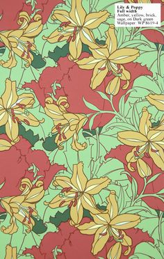 Charles Rupert Designs - Art Deco wallpaper. 'Lily and Poppy'