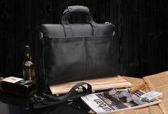 """Genuine Leather Business Briefcase, 14"""" Laptop Shoulder Bags Men's Handbag"""