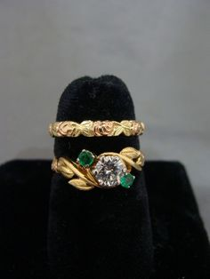 Jabel 14k Gold Diamond and Emerald Engagement and Wedding Band Set with Papers | eBay