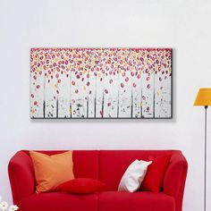 """""""Modern Wall Art Home Decoration Red Tree Romantic Leaf Rain Large Living Room Oil Painting Pictures on Canvas"""" Oil Painting Frames, Oil Painting Pictures, Pictures To Paint, Oil Painting On Canvas, Oil Paintings, Love Wall Art, Modern Wall Art, Hand Painted Canvas, Canvas Wall Art"""