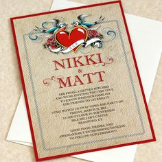 Rockabilly Tattoo Wedding Invitation 1950s by willowglenstationery, $5.80