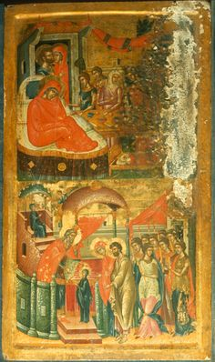"""Birth of the Virgin and Presentation of the Virgin,"" The Sinai Icon Collection Byzantine Icons, Byzantine Art, Constantine The Great, Christian Artwork, Best Icons, Orthodox Christianity, Icon Collection, Orthodox Icons, People Art"