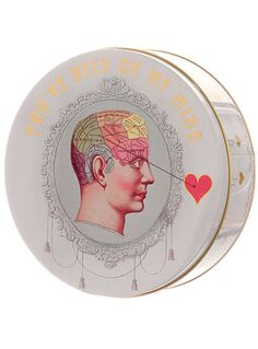 On My Mind Phrenology Head Round Tin Box at PLASTICLAND