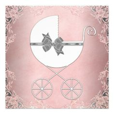 Elegant Gray Pink Lace Baby Girl Shower Invitations