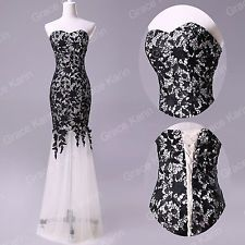 BLACK WHITE RED Lace Long Prom Bridesmaid Evening Ball Gown Wedding Formal Dress