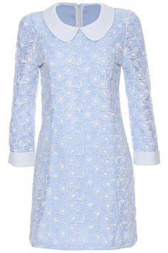 ROMWE | ROMWE Lace Embellished Long-sleeved Blue Dress, The Latest Street Fashion