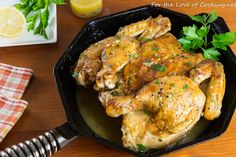 Roasted Spatchcocked Chicken with Lemon Wine Sauce Iron Skillet Recipes, Skillet Meals, Butter Chicken, Lemon Chicken, Apple Cranberry Salad, Whole Roasted Chicken, Wine Sauce, Cooking Ingredients, Quick And Easy Breakfast