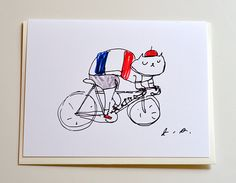 Tour de France Cycling Cat Card by jamieshelman on Etsy, $4.95
