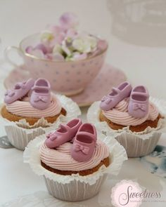 Cute Pastel Baby Shoes Cupcakes