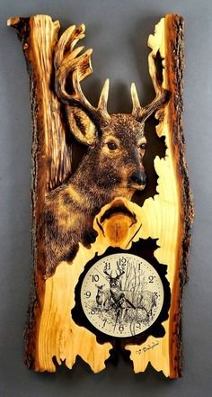 Wooden Gifts Carved by Hand Deer Clocks Unique Wood carvings Wooden Clocks by Vladimir Davydov Birthday Handmade in Québec Original Gifts