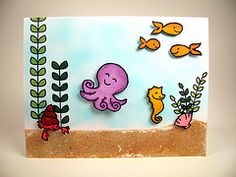 under the sea card using lawn fawns critter's in the sea
