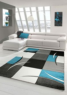Designer living room rug Contemporary rug Rug, low pile carpet with contour cut diamonds pattern Turquoise Grey White Black size cm Sitting Room Decor, Decor Home Living Room, Teen Room Decor, Living Room Carpet, Living Room Modern, Home Decor Furniture, Interior Design Living Room, Rugs In Living Room, Living Room Designs
