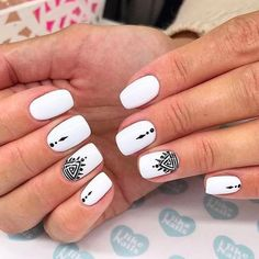 Must Try Nail Designs for Short Nails 2018 Short Acrylic Nails Stylish Nails Chic and fun Nails Short Nail Designs Summer Short Nail Designs Easy. White Nail Designs, Short Nail Designs, Simple Nail Designs, Acrylic Nail Designs, Acrylic Art, White Nails With Design, Nail Design For Short Nails, Stylish Nails, Trendy Nails