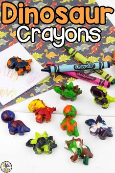 These DIY Dinosaur Crayons are a fun way for kids to reuse broken crayons to create their own homemade ones. You only need pieces of crayons, a silicone mold, and an oven (or  the sun) for an afternoon of fun! You can extend the learning and turn this melting wax activity into a science lesson that your kids will love! Click on the picture to learn how to make your own homemade crayons and get the free dinosaur coloring pages! #homemadecrayons #dinosaurs #dinosaurcoloringpages #crayons