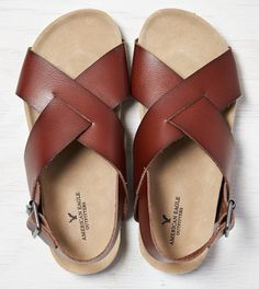 Medium Brown AEO Chunky Cross Strap Sandal