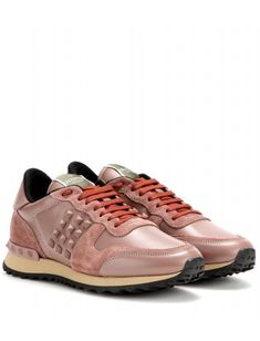 mytheresa.com - Rockstud suede and leather sneakers - Sneakers - Shoes - Valentino - Luxury Fashion for Women / Designer clothing, shoes, bags