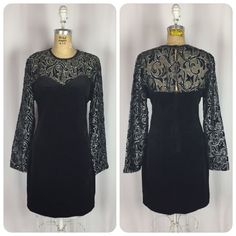 Vintage Black & Silver Lace Long Sleeve Goth Stretch Velvet Mini Body-con Dress.  | eBay