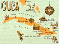 Illustrated map of Cuba, Owen Davey
