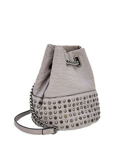 Studded beads accent this leather crossbody with an urban-chic edge.