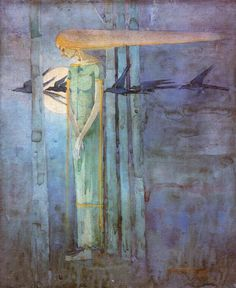 """Frances MacDonald, """"Girl in the East Wind with Ravens Passing the Moon"""", 1893"""