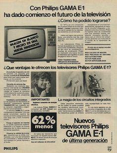 Televisores Philips E-1. Año 1975. Tal vez fue este el último televisor en blanco y negro que la marca holandesa publicitó antes de la llegada del color.